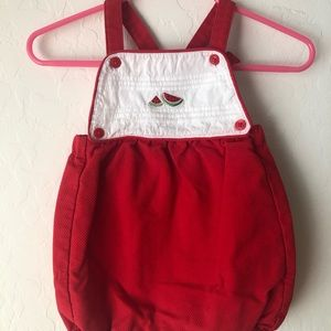 Watermelon red baby overalls Janie and jack